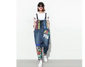 74dc46b7b85 Womens Loose Fitting Fashion Hip Hop Denim Overalls With Pockets
