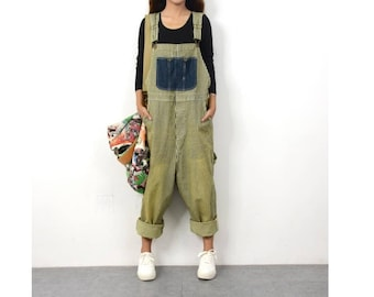 a1cd9fd3bceb Womens Retro Loose Fitting Casual Stripes Wide Legs Cotton Denim Jumpsuits  Overalls With Pockets