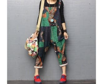 891e666a32 Womens Loose Fitting Vintage Printed Floral Cotton Overalls With Pockets