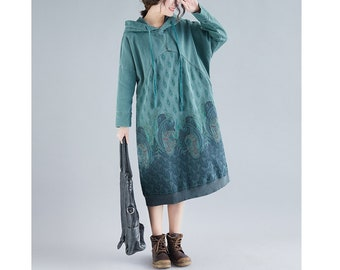 Womens Autumn Loose Fitting Printed Floral Patchwork Cotton Hoodie Dress With Pockets Autumn Dress Casual Dress Bust140CM Casual Hoodie
