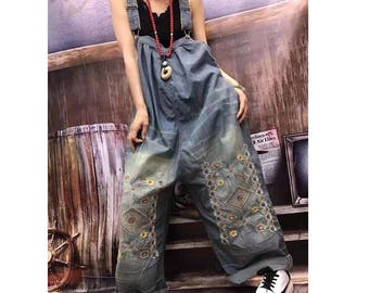 f7c24f9d727 Womens Loose Fitting Casual Embroidery Jeans Jumpsuits Overalls With  Pockets