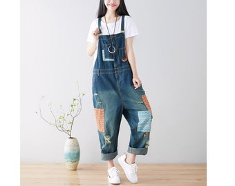 ae645e16d008 Womens Retro Loose Fitting Denim Jeans Overalls With Pockets