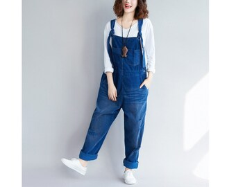 cf5623bb0a4 Womens Loose Fitting Ripped Corduroy Overalls With Pockets