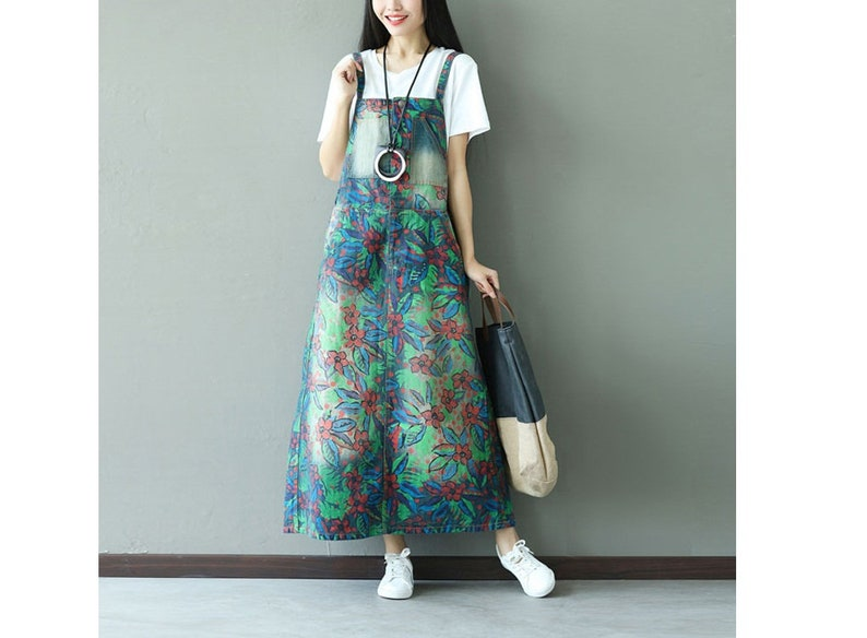 Womens Casual Loose Fitting Printed Floral Denim Jeans Dress With Pockets,Womans Casual Dress,Denim Dress Long Dress For Women Jeans Dress