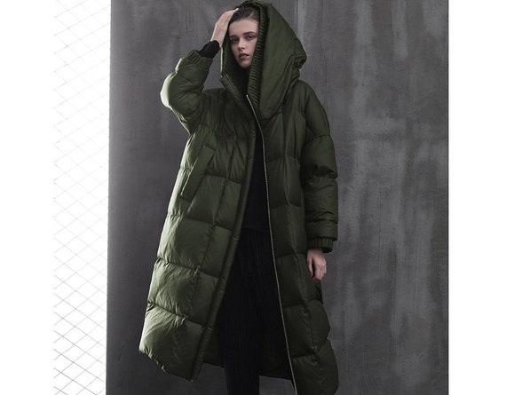 Womens Winter Loose Fitting Thickening Zipper Hooded Down Coat Jacket With Pockets, Casual Down Coat, Long Down Coat, Winter Coat For Women