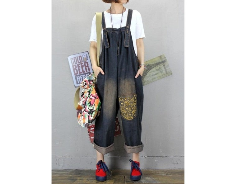 d89dc47eab Womens Summer Loose Fitting Printed Floral Overalls Jumpsuit