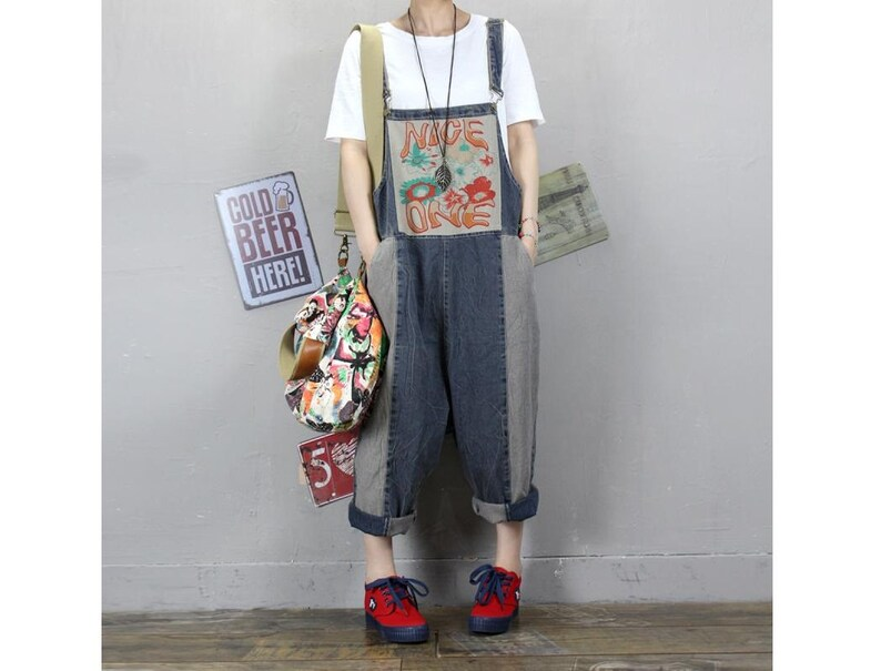 10f0743f2b Womens Summer Loose Fitting Printed Floral Denim Overalls