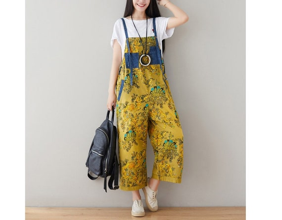 Loose Pants,Casual Overalls For Women Womens Loose Fitting Casual Printed Floral Cotton Jumpsuits Overalls With Pockets Womans Harem Pants