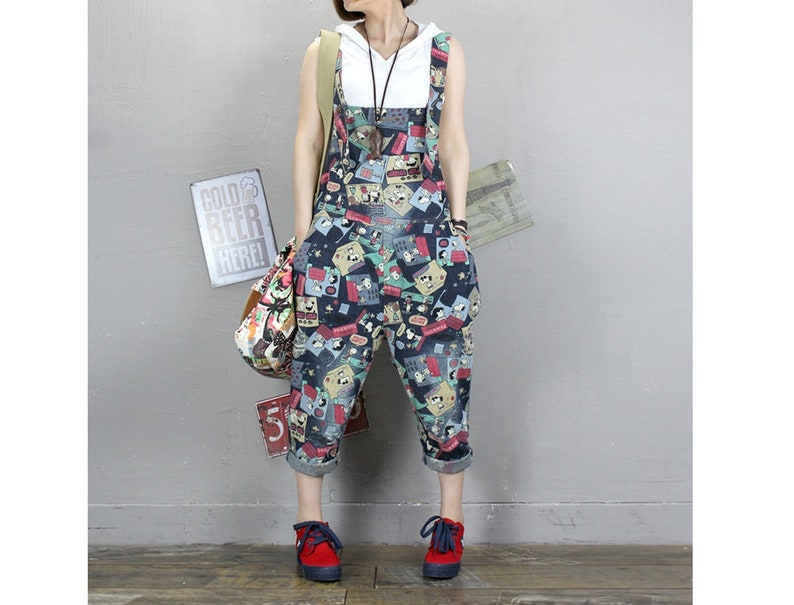 8f78df7436 Womens Summer Loose Fitting Printed Floral Ripped Denim