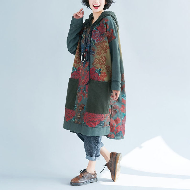 Autumn Dress For Women Womens Autumn Loose Fitting Printed Floral Patchwork Hooded Cotton Dress With Pockets Casual Hoodie Casual Dress