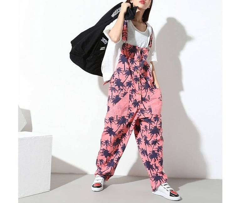 d4c8b9887b9 Womens Loose Fitting Summer Printed Floral Cotton Jumpsuits