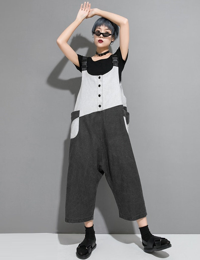 Loose Overalls Summer Overalls Loose Pants Womens Summer Contrast Color Cotton Overalls With Pockets Casual Overalls Overalls For Women