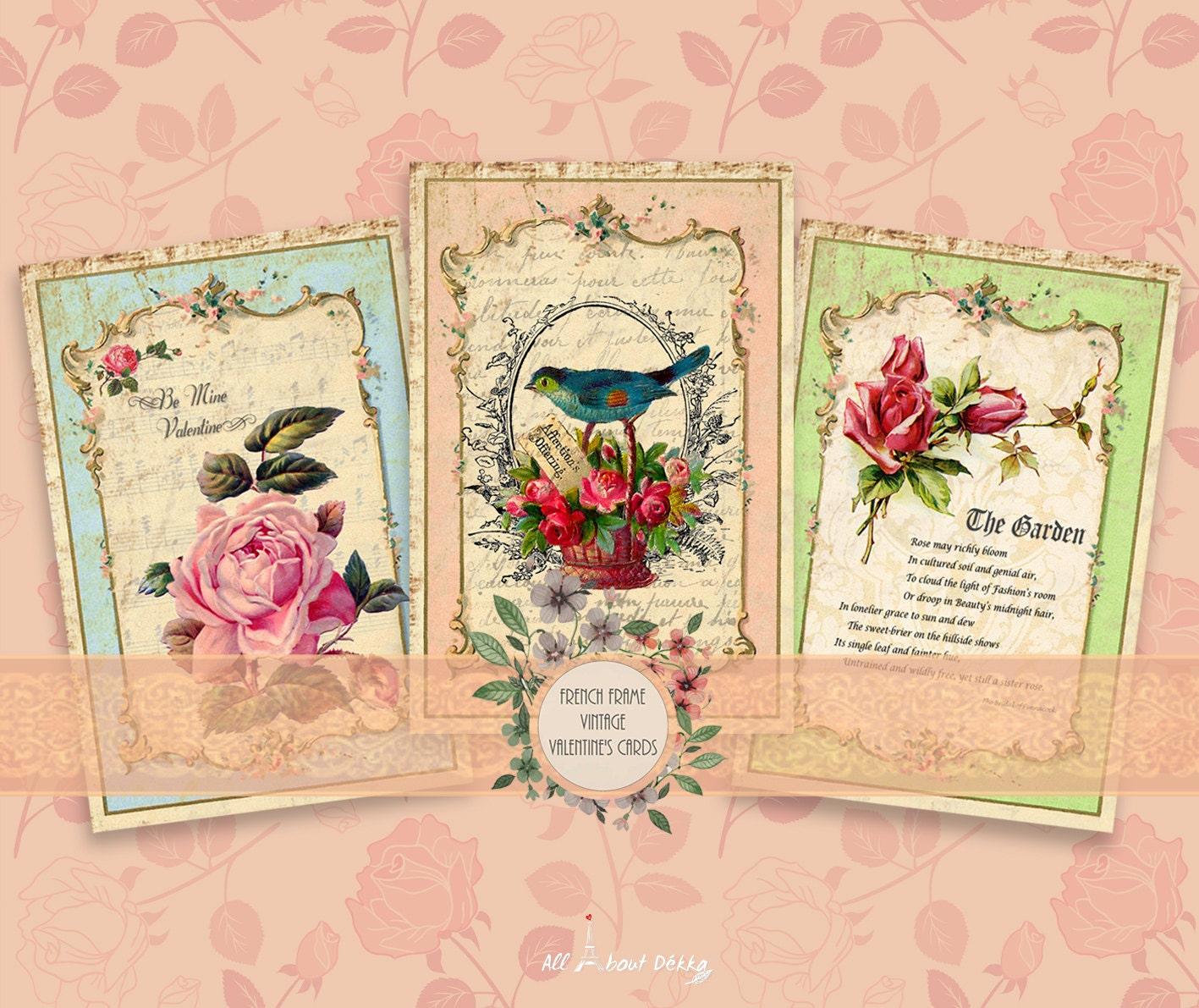 French Frame Vintage Valentine\'s Postcards Vintage Clip | Etsy