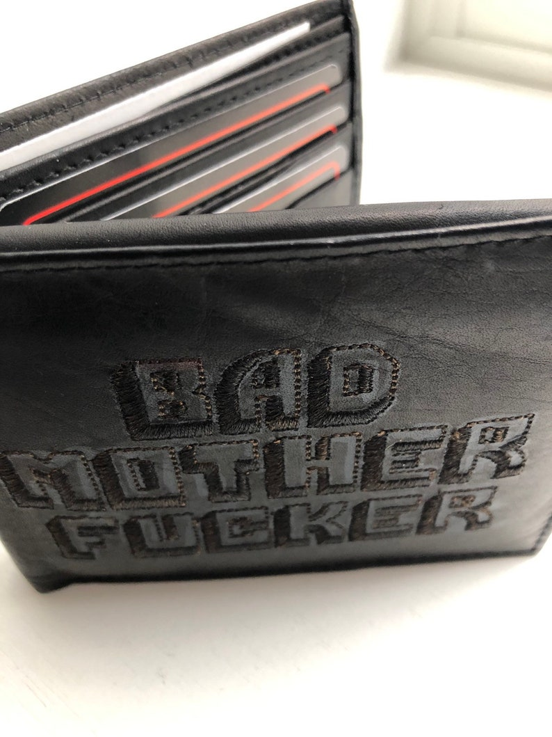 Black-On-Black Bad Mother Fucker Wallet Embroidered BMF Brand image 0