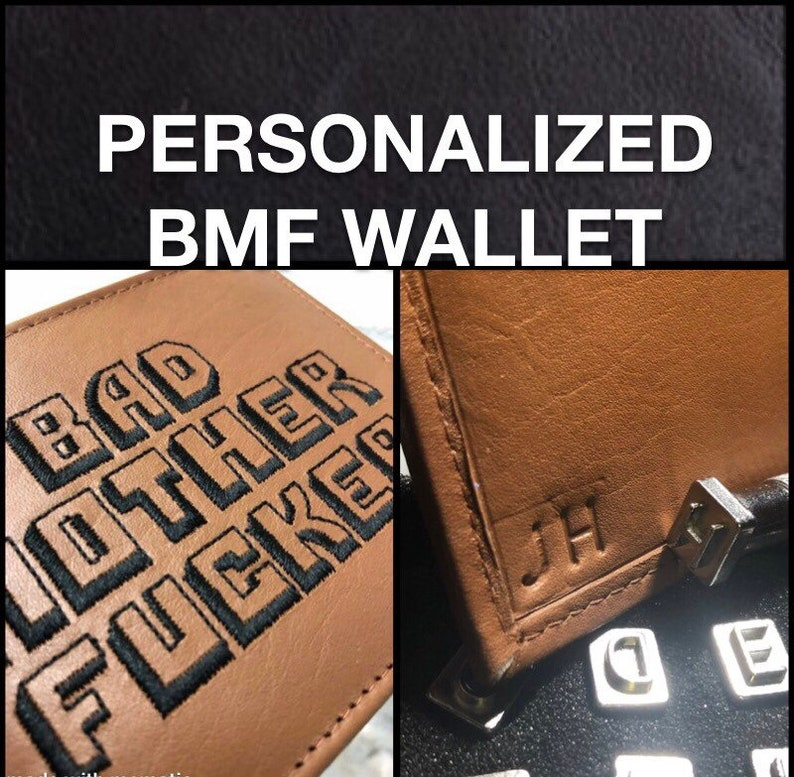 BMF® Wallet PERSONALIZED Initials Bad Mother Fcker 100% NAPPA image 0