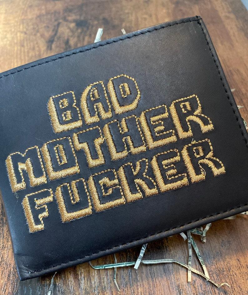 Black Original BMF® Brand Bad Mother Fcker Leather Wallet Gold Thread