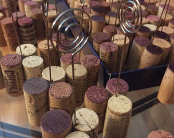 SET OF 12:  Wine Cork Table Number Wire Stands, Place Card Photo Holder, Name Badge, Wedding Favors, Upcycled, DIY Completed