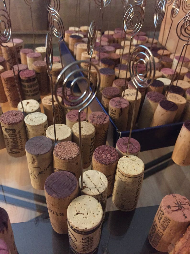 SET OF 12:  Wine Cork Table Number Wire Stands Place Card image 0
