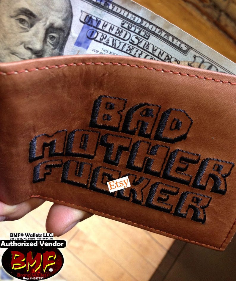 The Original BMF® Bad Mother Fcker Brown Leather Wallet 100% image 0