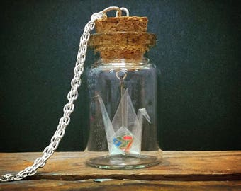 Filled With Love - Clear Origami Crane Necklace