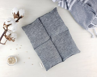 Square therapeutic compress (hot or cold) | releives muscle pain stomach ache chronic pain back pain cold feets | Hemp & organic cotton GREY