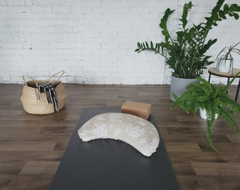 Crescent Moon Cushion | Yoga & Meditation Cushion | Floor cushion | Washable cover with removable liner | White Elephants beige background