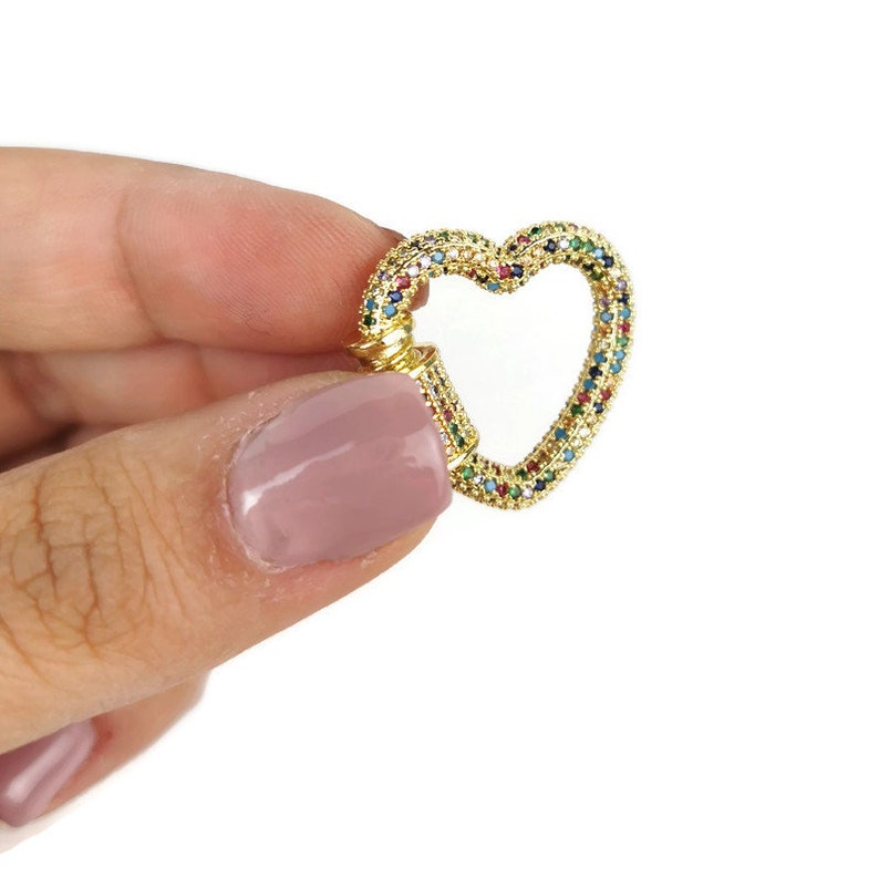 Unique Buckle Clasps, 25MM X 23MM Heart Screw Clasp Golden Tone Stainless Steel Interlocking Clasp Micro Pave Cubic Zirconia Heart Clasp
