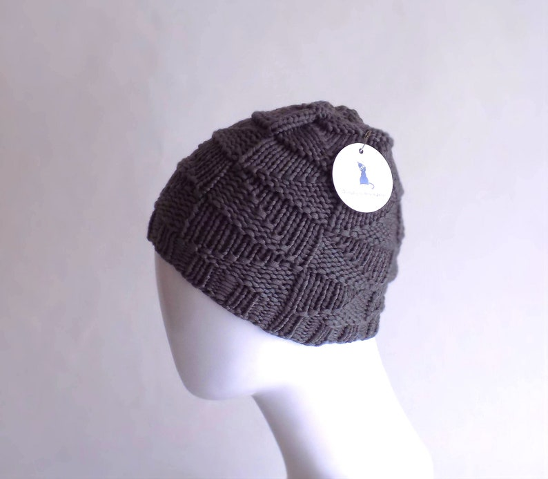 735e554341982 Grey hand knit beanie for women made from premium yarn blended