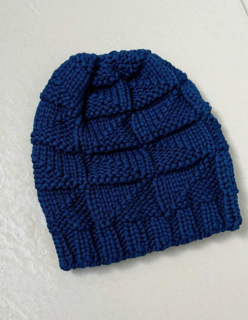 1e7409af3a7c3 Women s blue hand knit beanie. Lightweight soft and