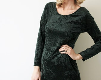 SALE Vintage Forest Green Velvet Dress