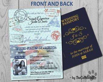 Passport Wedding Invitations Etsy