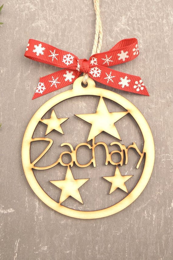 Personalised Christmas Bauble Tree Decoration Laser Cut