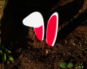 Easter Bunny Ears, Acrylic ears to hide in the garden, pink and white ears, Rabbit Ears, Easter, Bunny, Laser Cut, Rabbit ears, Easter Bunny