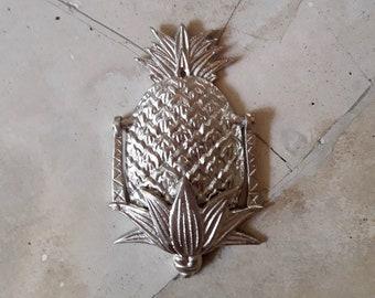 Pineapple Door Knocker, Silver, Polished Brass Vintage   Medium
