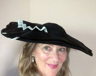 f8e630084011a Vintage Inspired Women s Original Ebony n Ivory Hat Wide Brim Hat Special  Occasion Wedding Hat Komater Sisters Design Hat