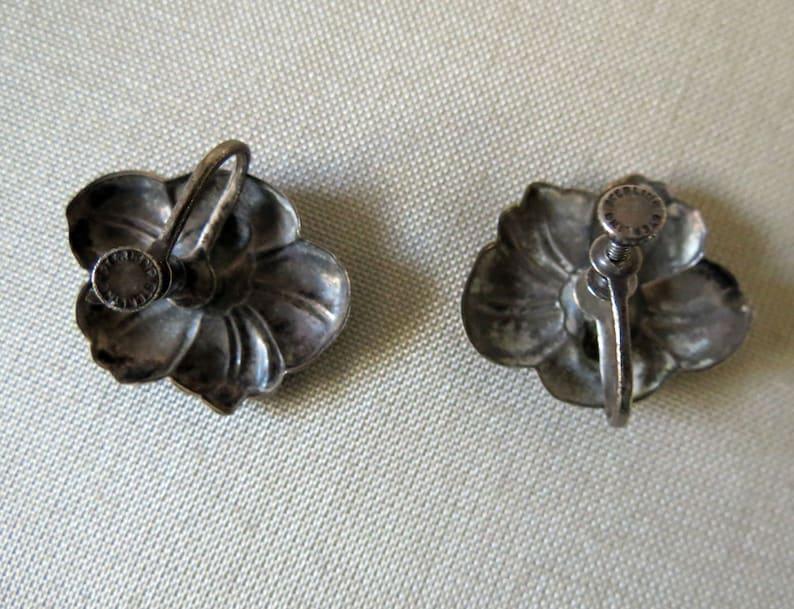 Mid Century Southwestern or Mexican Sterling Flower Earrings Silver Flower Earrings