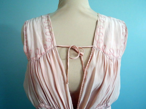 Vintage Art Deco 1930's Silk Lingerie Gown Pink Br