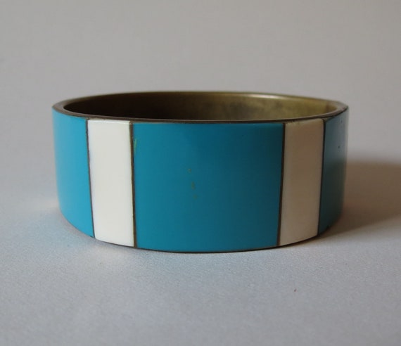 Vintage Retro Brass and Ceramic China Triangle Faceted Bracelet Bangle