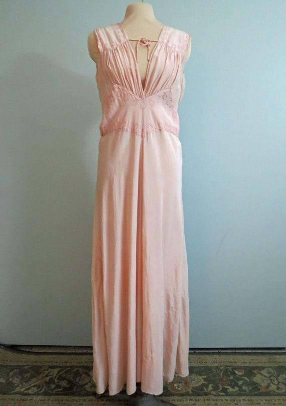 Vintage Art Deco 1930's Silk Lingerie Gown Pink B… - image 2