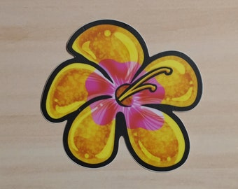 Vinyl Waterproof Sticker://Tropical flower hibiscus
