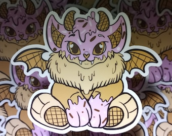 Vinyl Waterproof Sticker:// Sweet Ice Cream Strawberry Batling Lion Dragon Creature