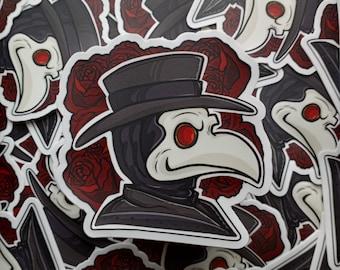 Vinyl Waterproof Sticker:// Plague Doctor Rose