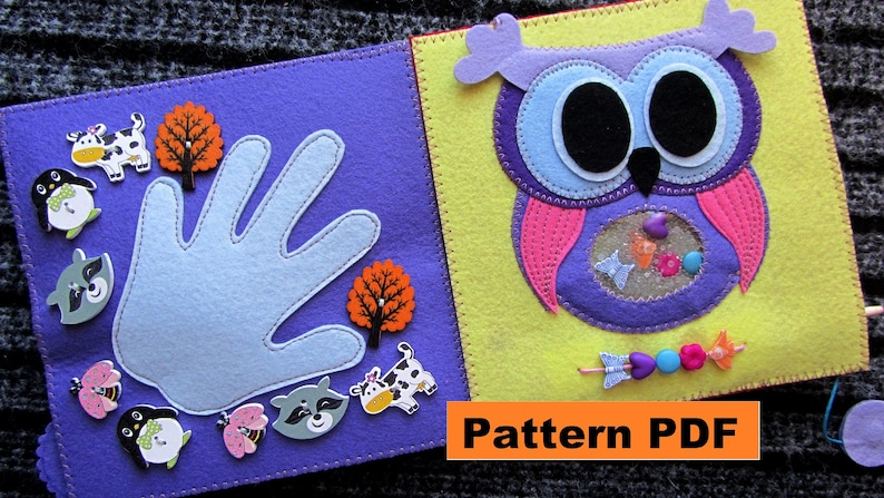 Quiet Book 1 Page Owl With Buttons Pdf Pattern For Toddlers Etsy
