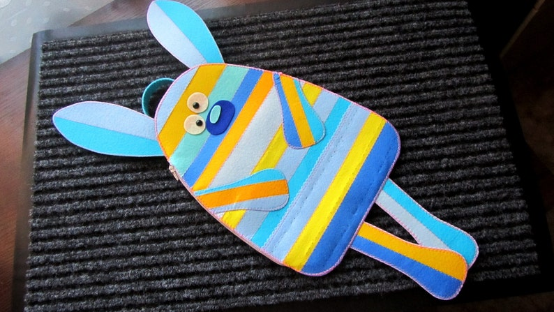 handmade gifts for best friend Pattern Easter Bunny backpack felt for chocolate gifts children Easter Rabbit Bag Felt Pattern Easter decor