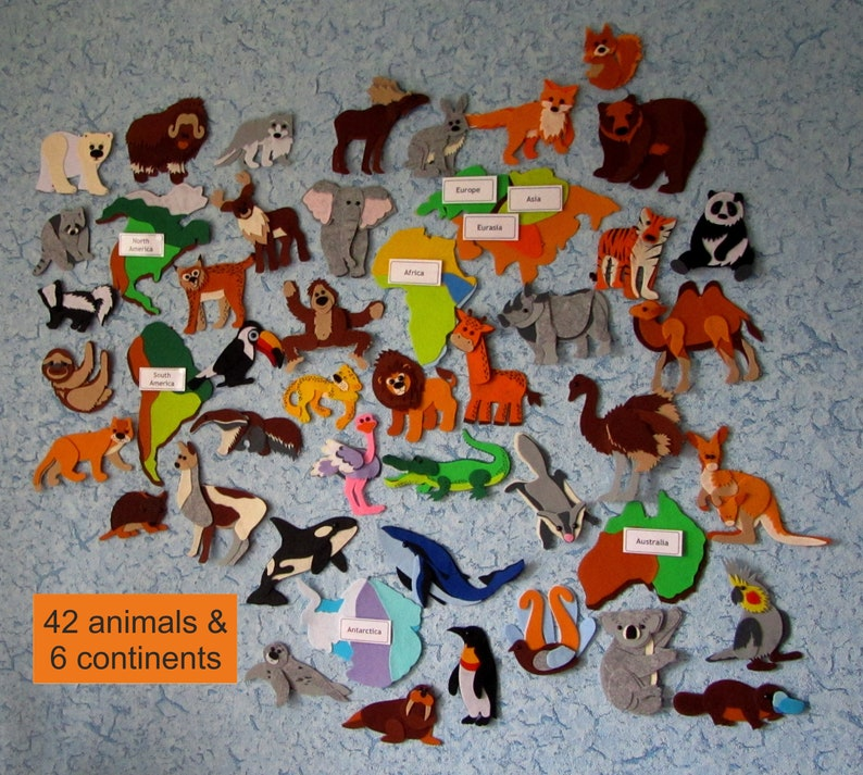 PDF Pattern /& Tutorial Animals North America for World Continent Map Puma Reindeer Polar bear Puma Felt PDF Download Pattern No need to sew