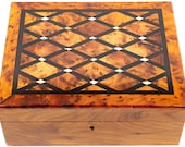 Large Thuya Wood and Mother of Pearl Marquetry Jewellery Box with Tray and Key - Fair Trade Box handmade in Morocco
