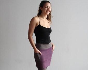 Mini Skirt Side Pockets:  Hemp Recycled Poly Fleece, Organic Cotton Flint and Grey