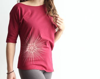 Off The Shoulder Top Soy Organic Cotton Fractal Print Silk Screened