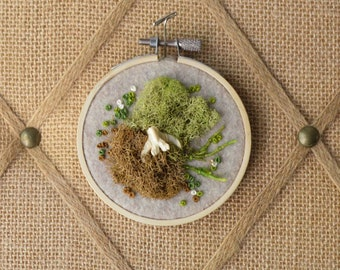 """3"""" Moss and Bone Embroidery With Muskrat Vertebrae - Recycled Material - Hand Stitched"""