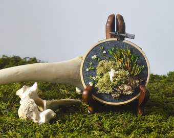 """3"""" Moss and Bone Embroidery With Squirrel Vertebrae - Recycled Material - Hand Stitched"""